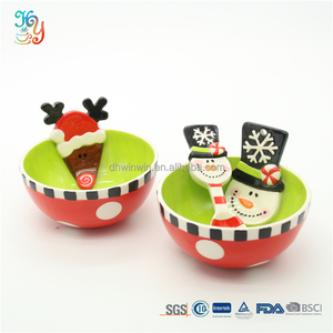 Unique ceramic christmas salad bowls decorative candy bowl with spoon