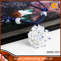 2014 fashion jewelry flower blue and white porcelain ceramic necklace jewelry