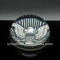 Clear Resin Sphere Paperweight Embedded Eagle Factory