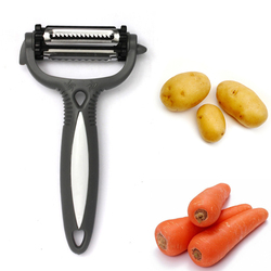 High Quality New 3 in 1 Stainless Steel Fruit & Vegetable Peeler ABS Handle Cooking Kitchen Tools Garlic Carrot For Apple Peeler