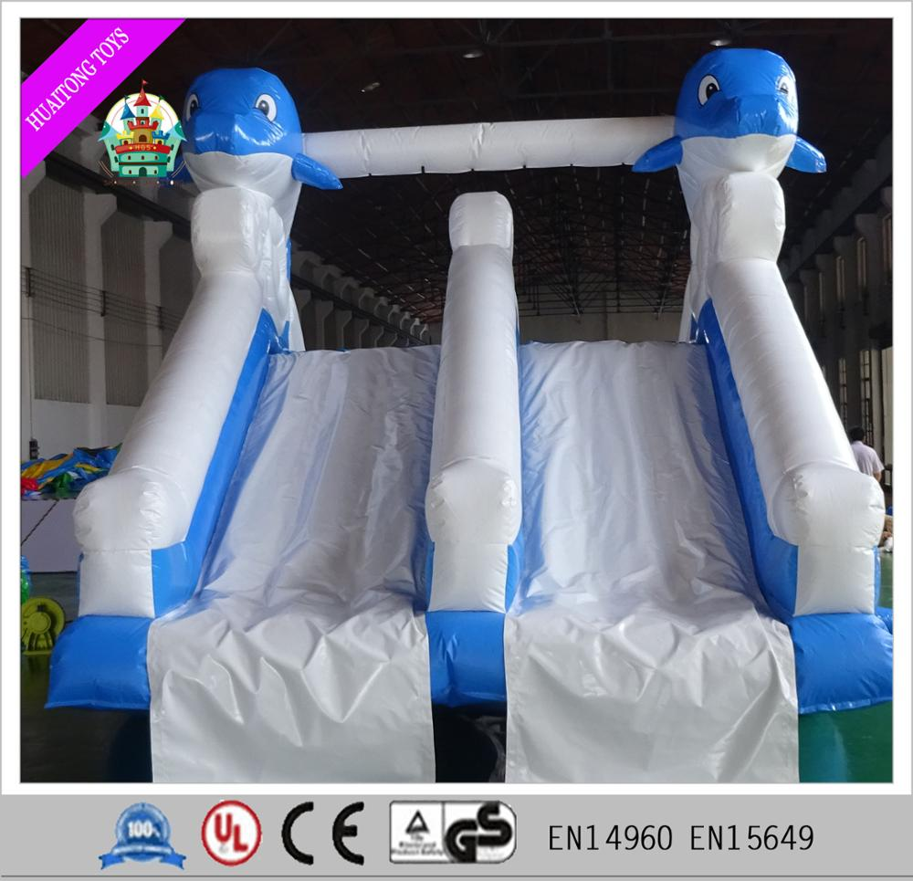 Portable outdoor blue dolphin slide inflatable water slide for kids on land