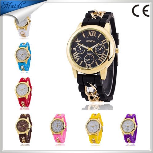 China Fashion 2017 brand geneva high quality watches men silicone fashion quartz dress watch GW023