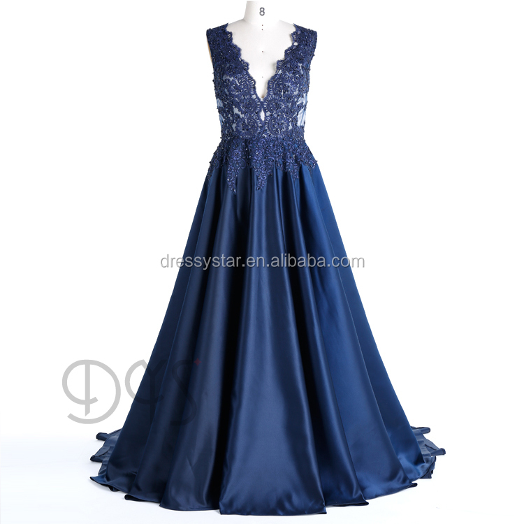 Designer one piece ball gown shiny beaded evening Dress with lace appliques