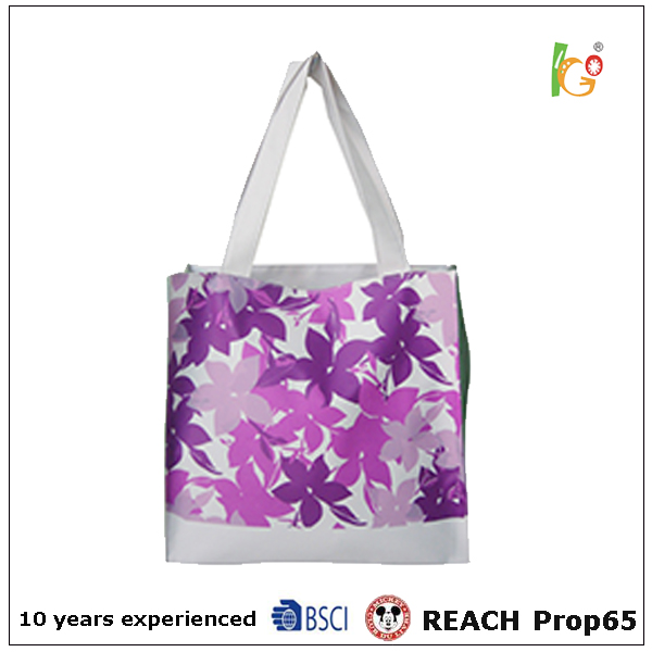 2017 fashion design pvc women handbag inkjet coating shopping bag