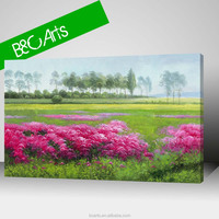 Digital printing wall decor flowers and trees oil painting beautiful scenery canvas picture