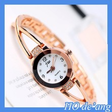 HOGIFT quartz stainless steel case back watch women rhinestone diamond bracelet watch
