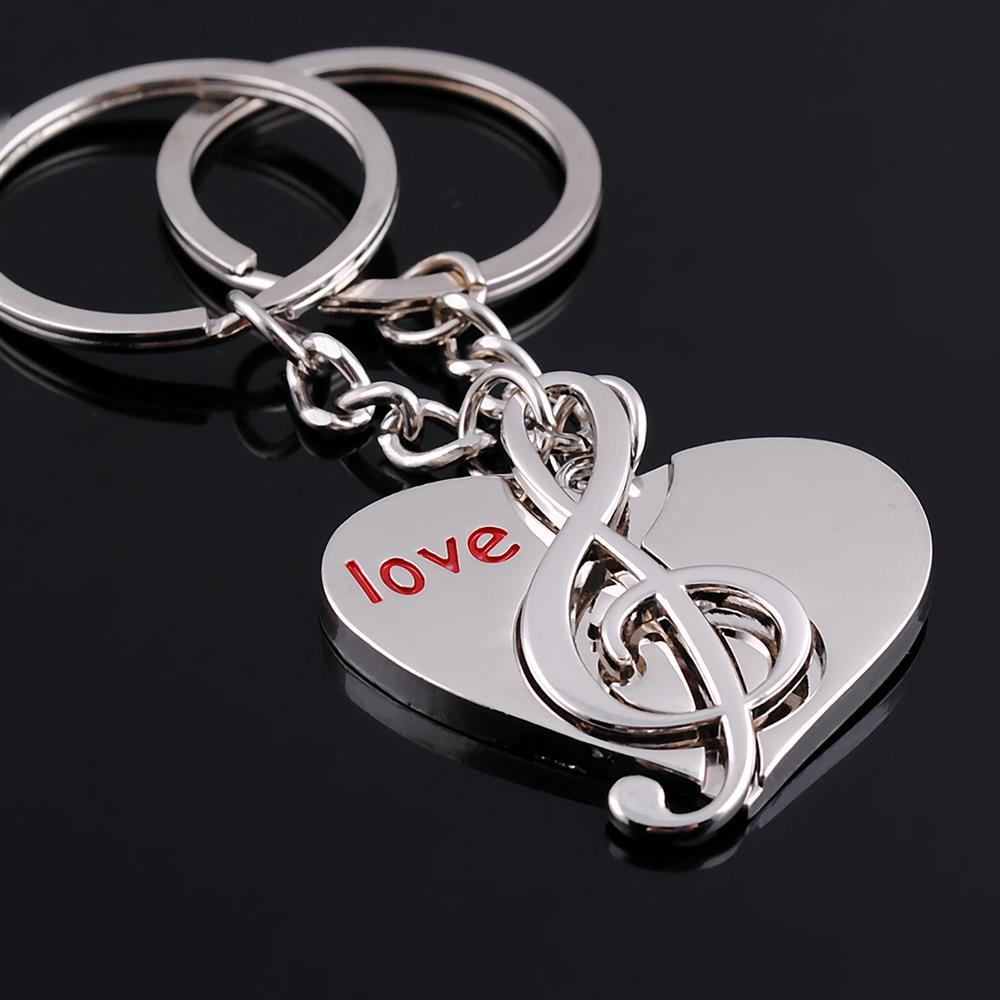 Promotional Gifts Big Love Heart With Musical Note Pendant Charm Coin Circle Keyring Lovers Keychains