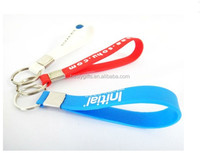 Custom design cheap Eco-friendly PU keychain / floating key chain/ Silicone wristband key ring