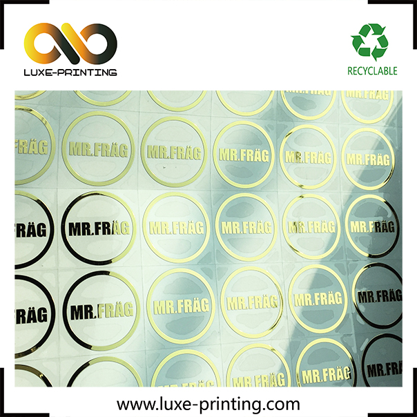 Custom company logo printed gold metal sticker in sheets