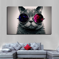 Abstract animal printing cat canvas painting for home wall Decoration