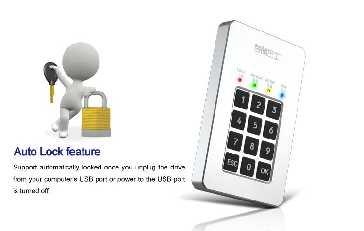 "Datage DM200 2.5"" USB3.0 Password Encryption External Hard Drive"