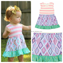Latest fashion baby cotton frocks designs handmade stripe dress for girl