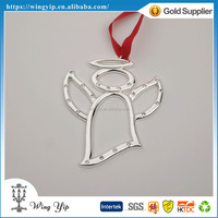 OEM and ODM good quality Angel with Ribbon Zinc alloy metal X'mas hanging for Ornament