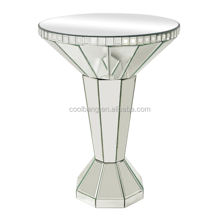 Top quality mirrored coffe table mirrored pedestal stand