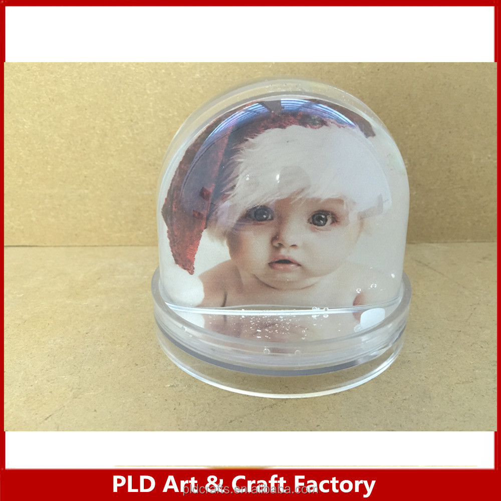 Plastic Picture insert snow globe baptism gift snow globe