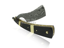 Cut Throat Damascus Steel Straight Razor DD-13-3011 Buffalo Horn Scales