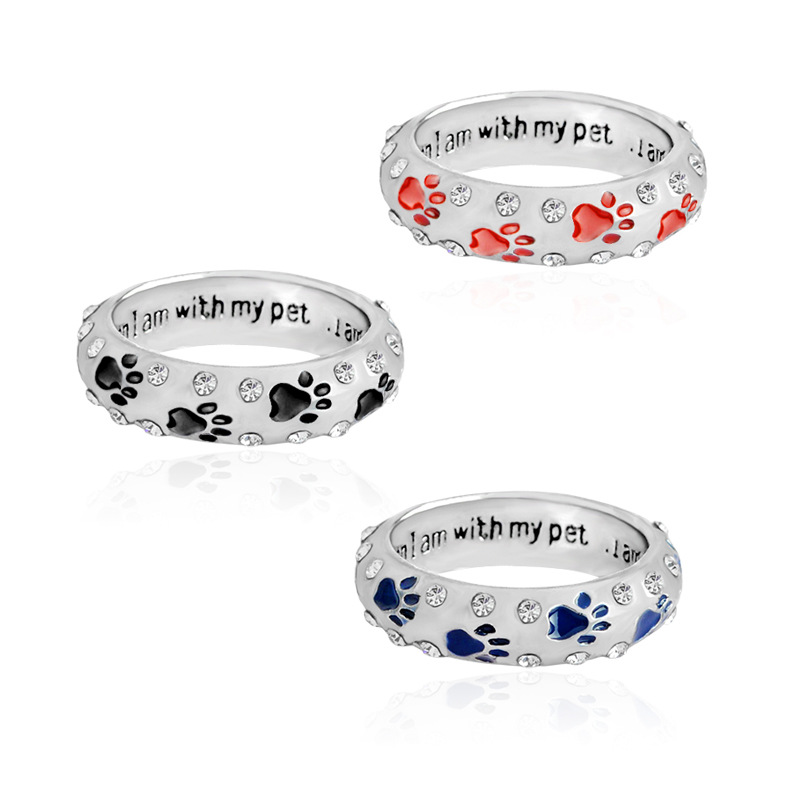 Top quality when I am with my pet Ring Dog paw footprints Simple Jewelry Ring For Dog parent