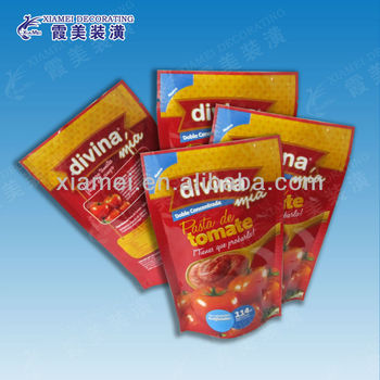 gravure printing bottom gusset stand up packaging bag tomato paste pouch