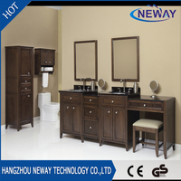 New solid wood double make up bathroom cabinet sets