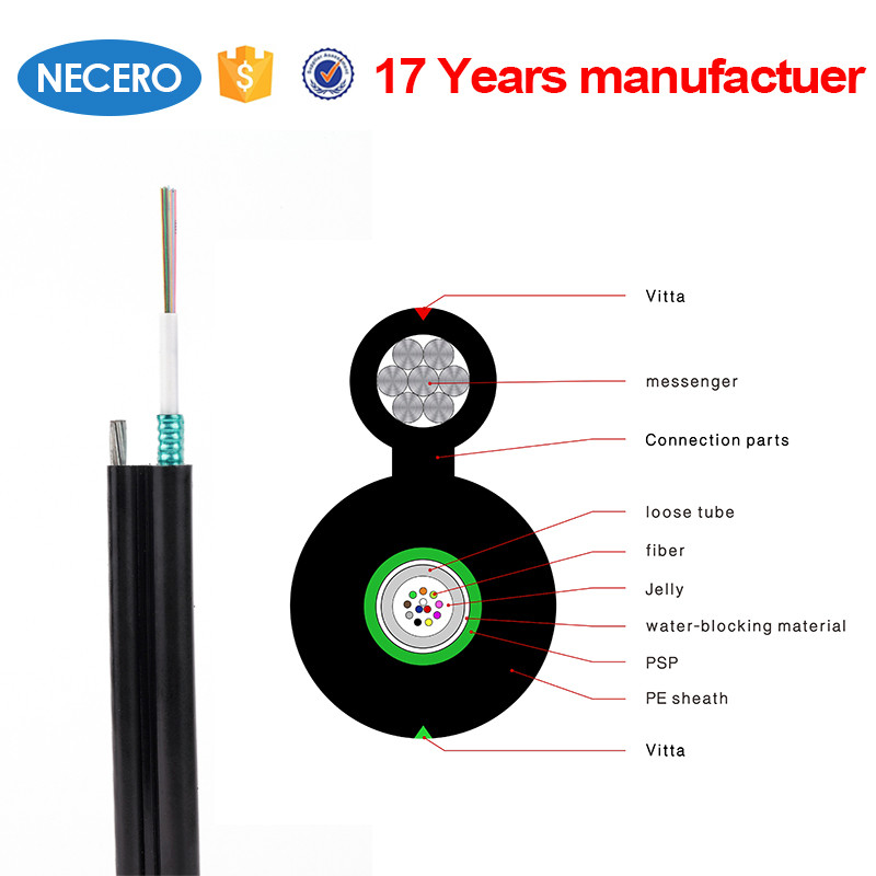 GYXTC8S 6core Aerial Self-supporting Figure 8 Single -Armored Single-Jacket Central Loose Tube optical fiber Cable