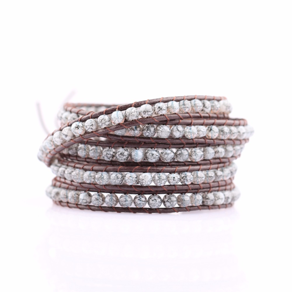 HAOSIQI wholesale the beautiful real leather cord string stone beads bracelet,new design high quality handmade ladies' charming