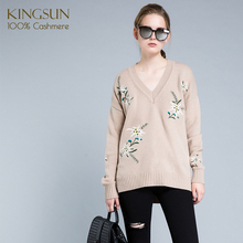 Wholesale Beautiful Embroidery 100% Cashmere Sweater Women Pullover Customized Style