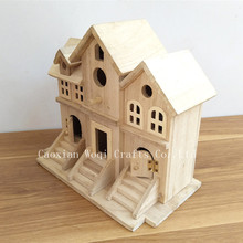 2017 New Design Wholesale Cheap small wooden bird houses, wooden arts crafts bird feeder