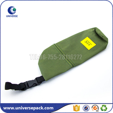 Custom knife shaped green nylon zipper pouch