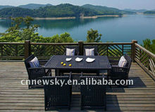 Outdoor garden rattan dinning sets 6chairs with teatable