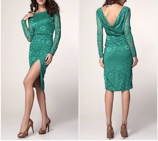 High fork sexy dress,green long gress