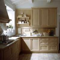 Traditional Chinese Style Customized Wooden Ggrain Kitchen Unit