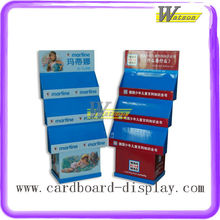 hot sale books promotion customized corrugated 4 layer display stand shelf