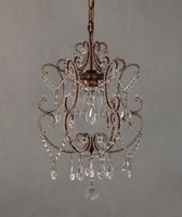 Amber color crystal hanging & arm-beaded american style chandelier