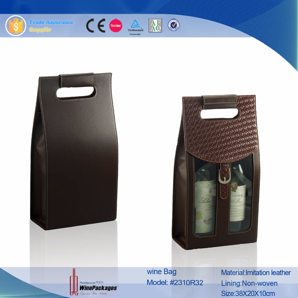 Professional factory black imitation insulated leather wine bag, portable wine carrier