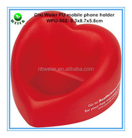 hot selling promotional gift PU material PU foam stress heart shaped mobile phone holder 9.3x8.7x5.8cm