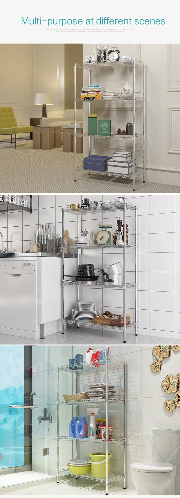 XM_202 kitchen wire shelving storage microwave oven rack metal book shelf 4 Tier Adjustable Multi-function sundries organizer