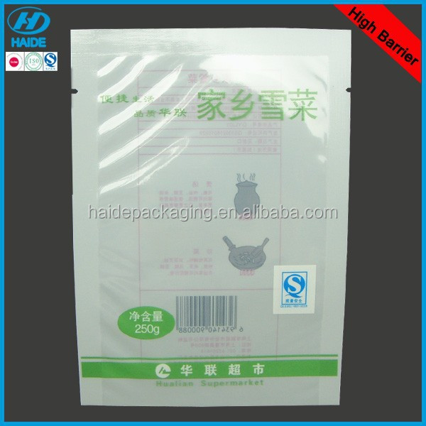 high barrier plastic vegetable packaging bag with tear notch