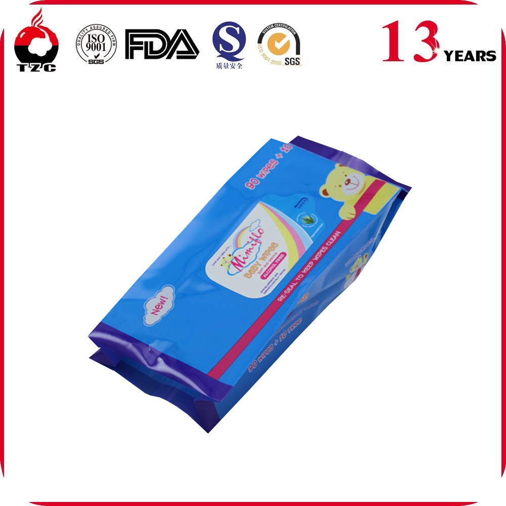 glossy surface good quality plastic 80 pcs wet wipes packaging bag