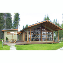 Wood frame house factory prefabricated log homes with big terrace