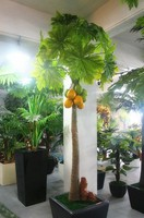 2014 High imitation wholesale artificial single trunk pawpaw tree fake fruit tree for decoration indoor