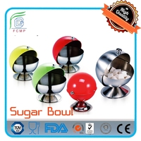 Modern Decorative Stainless Steel Sugar Bowl with Rolltop Lid