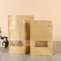 Kraft paper bag for coffee beans or seeds packaging ,paper bag with window and zipper