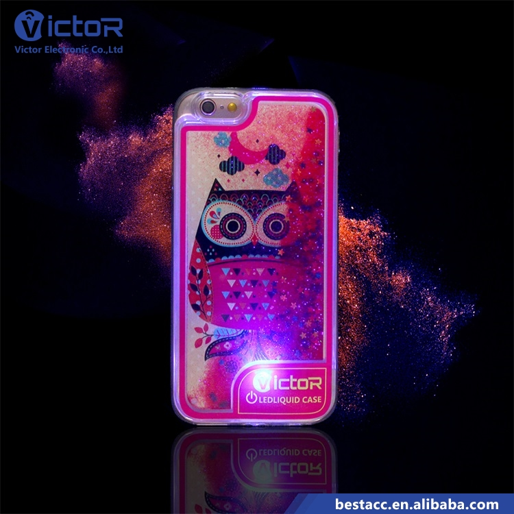 Amazing custom LED light up glitter liquid phone case for iPhone 7 with light