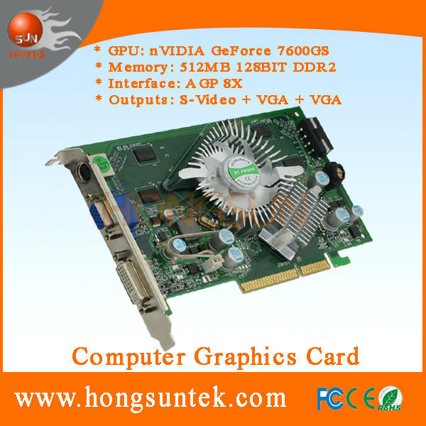 NVIDIA GeForce P508 7600 GS AGP 512MB 128BIT DDR2 Video Card for SEGA arcade machine