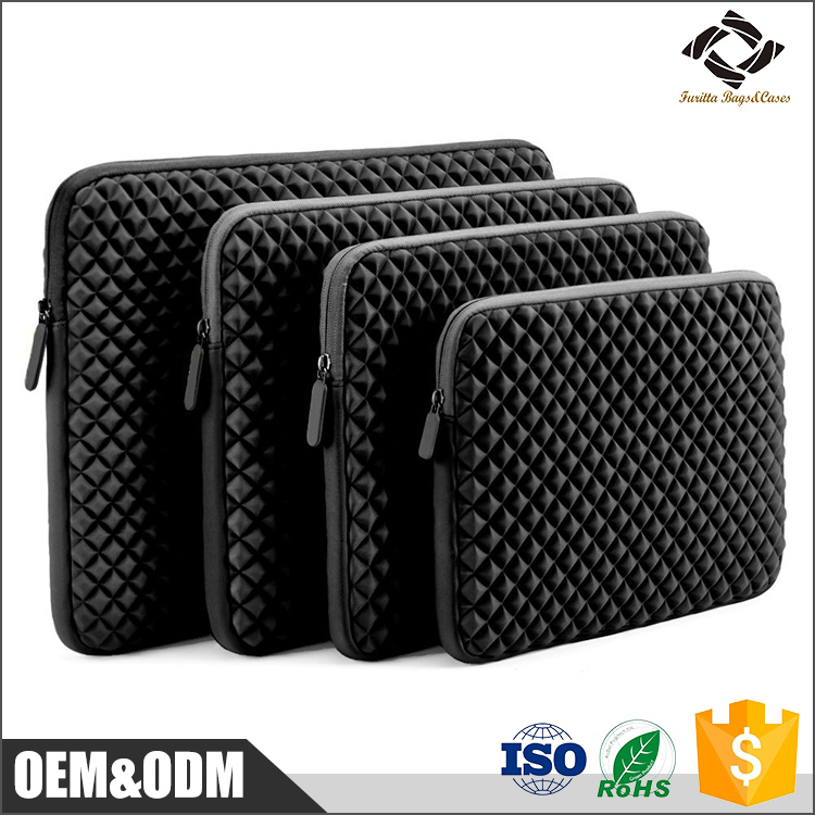 Black good quality custom size waterproof Neoprene laptop sleeve with embossed pattern
