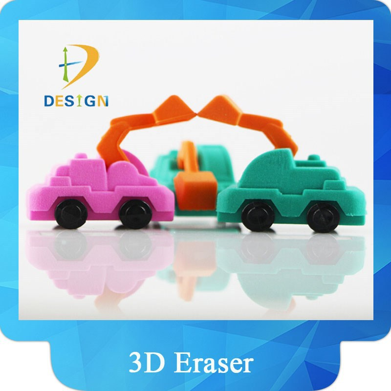 Cartoon 3d excavator car shaped rubber pencil puzzle eraser