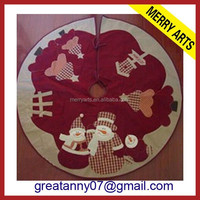 Wholesale new product country style snowman christmas tree skirt for christmas tree decoration