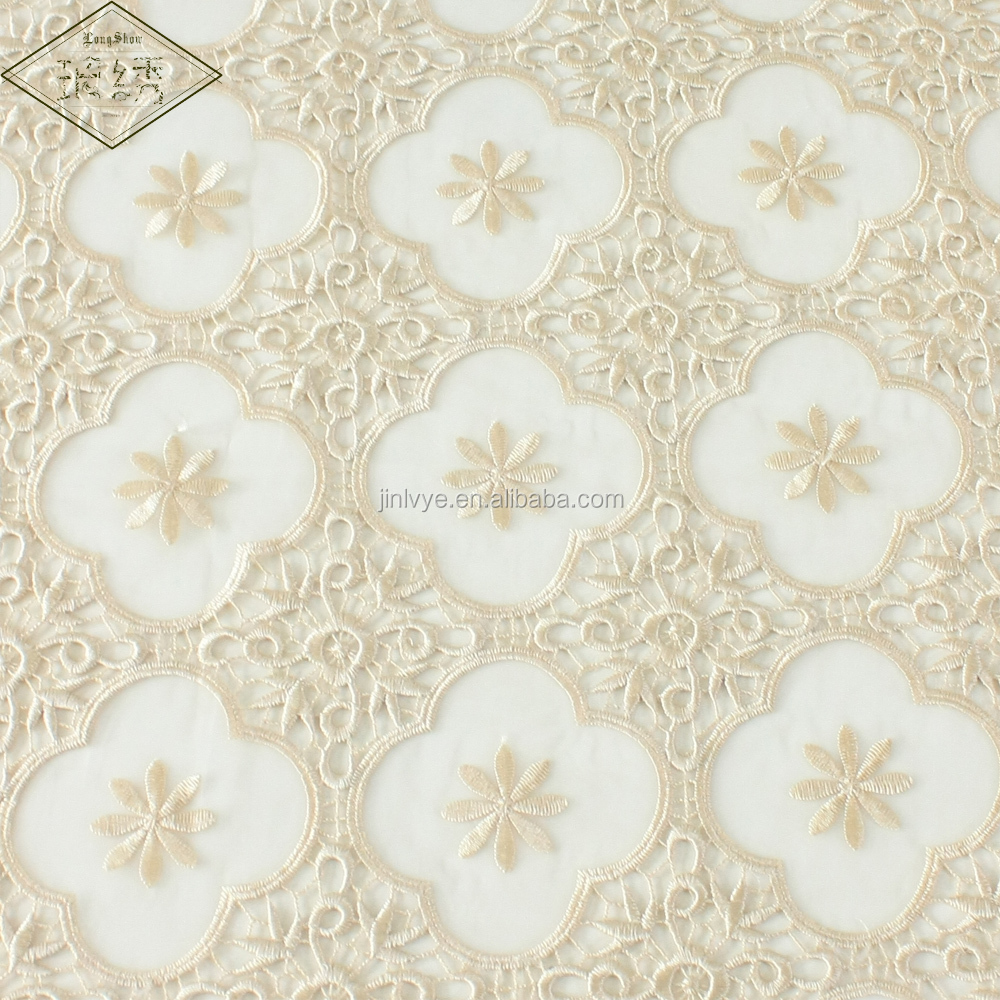 Hot-selling Polyester Beige Embroidered Tablecloth With European Lace