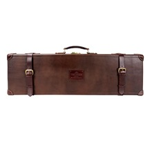 TOURBON antique treated vintage look genuine leather shotgun gun case