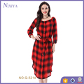 Wholesale Clothing New Design Drawstring Waist Red Plaid Women Dress